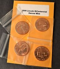Complete Set Lincoln Bicentennial 2009 Cent  DENVER From Mint Rolls 4 Coins