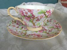 VINTAGE SHELLEY MAYTIME BONE CHINA ENGLAND CHINTZ FLORAL CUP SAUCER 13452