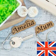 Personalised Keyring Name Gift Wooden Keychain Novelty Fathers Day Name Tag