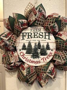 FARMHOUSE Christmas Trees 🎄WREATH Burlap Deco Mesh RED TRUCK Rustic WOODLAND