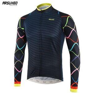Men Cycling Long Sleeve Jersey MTB Bike Shirts Sportswear Quick Dry Riding Tops