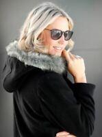 Damen Kurzmantel Wolljacke Jacke Kapuze schwarz - NEU & OVP große Größen Fell 56