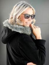 Damen Kurzmantel Wolljacke Jacke Kapuze schwarz - NEU & OVP große Größen Fell 60