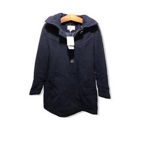Kimi + Kai Maternity Navy Blue Pea Coat - Winter & Hooded Medium Wool NEW