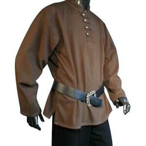 Long-Sleeve Button Pirate Shirt (Black, Brown,Natural,Red, Green) - 1430