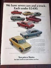 1972 Toyota Corolla Ad Print Advertisement 21116 Auto Corona Carina Car Truck