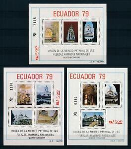 [105966] Ecuador 1980 Art paintings Patron armed forces 3 Souv. Sheets MNH