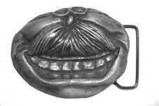 Vtg Mouth Belt Buckle Man's Mustache Teeth Lips Grandpa Dad Gift Idea Funny 70s