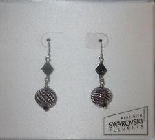 Dark Purple Ball Earrings Swarovski Elements Glass Sterling Silver Pierced New