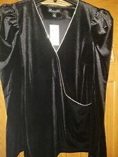 NWT Womens SZ Med INC International Concepts Black Velvet Rhinestones Top $69.50