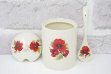 Poppy Jam Pot Jar 9606 Ceramic Sugar Serving Bowl Preserves Matching Spoon