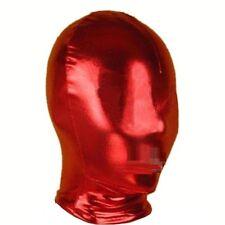 PVC Wet Leather Look Dungeon Slave Red Full Head Hood Fancy Wear, UK Seller