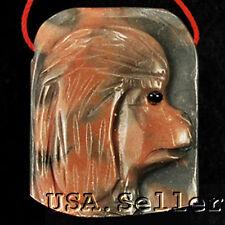 Rare! Natural Picasso Jasper Carved Dog Pendant Bead