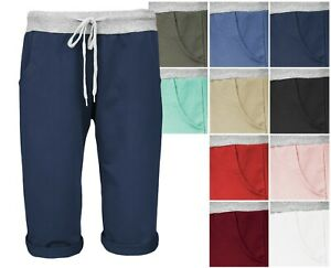 Damen Shorts leichte Bermuda Hose knielange Jogger Sweat Pants kurze Sporthose