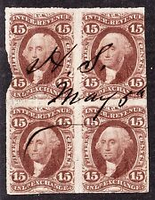 US R40a 15c Inland Exchange Used Block of 4 Fine SCV $900