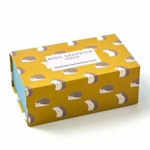 Miss Sparrow Women's Sock Gift Set 3 Pairs Hedgehog Ladies Socks Gift Box
