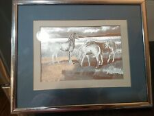 Vintage 1983 Manifestations Optical Illusionary Art Picture Horses Framed