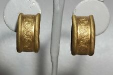 "Antique Late Victorian Gold Gilt Repousse 1/2"" Wide Hoop Screwback Earrings"