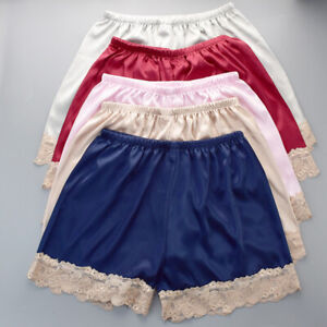 Lace Nightwear Anti-Static Pettipants Satin Bloomers Panties Short Lingerie
