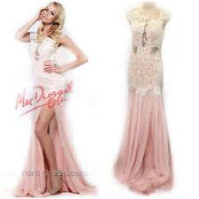 Mac Duggal 0 Pink Pageant Gown Mermaid Chiffon Crystal Lace Mesh 61041R $997