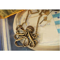 Steampunk Style Jewelry Vintage Bronze Octopus Long Pendant Chain Necklace Hot