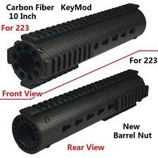 "10"" Carbon Fiber KeyMod Free Float Quad Rail Handguard With Rails and Nut"