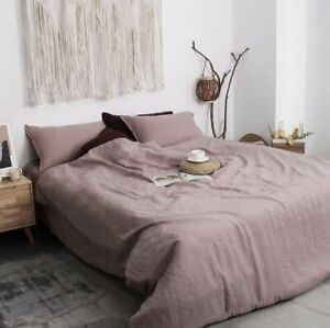 3PC DUVET COVER SET & Pillow W/ Button Closure Rose Pink Stone Washed Seamless Q