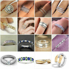 Gorgeous Women 925 Silver Rings Round Cut White Sapphire Wedding Ring Size 6-10