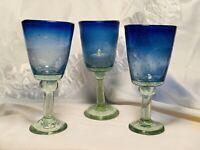Hand Blown Studio Art Glass Three Blue Pedestal Goblets Votive Candle Holders