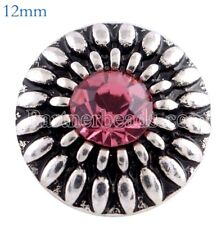 Silver Pink Rhinestone Flower 12mm Mini Petite For Ginger Snaps Magnolia Vine