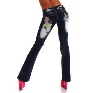 Damen Jeanshose Übergröße Bigsize Rose  Ausgefallen Top Qualität Modisch Elegant