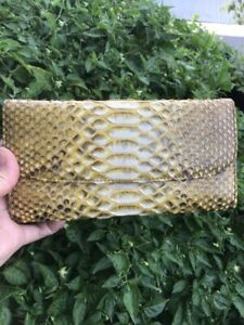 Clutch/Zipper Long Wallet  Python LEATHER handmade, Genuine Python LEATHER Leath