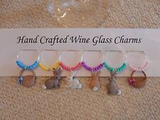 """""""EASTER BUNNIES AND BASKETS WINE GLASS CHARMS"""