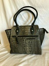 MC Marc Chantal Gray and Black Faux Leather Croc. Embossed shoulder bag