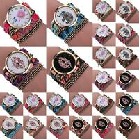 Fashion Women's Bracelet Watch Crystal Leather Strap Analog Quartz Wrist Watches