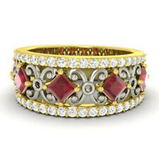 14K Yellow Gold Natural Ruby 1.40Ct Gemstone Band Diamond Eternity Rings Size N