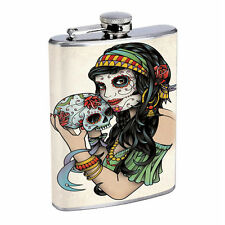 SKULL FLASK 8 oz STAINLESS STEEL SILVER D 1 SUGAR SKULL DAY OF THE DEAD WHISKEY