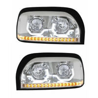 Freightliner Century Projection Chrome Headlight Pair w/LED Light Bar KIT1001