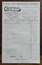 1919 Horne Brothers, Mens Outfitters, Coventry St, Haymarket Invoice