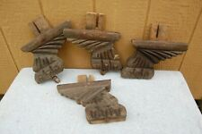 Gothic Carved Wood Claw & Wing Salvage Furniture Leg Set 4 Castors Wheel Antique