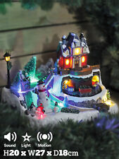 Animated Christmas Village Scene Moving Train + Snowman Sound Light Up