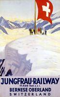 "Vintage Illustrated Travel Poster CANVAS PRINT Switzerland Railway Cross 8""X 12"""