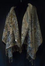 XL Gold Silber Pashmina Umhang Überwurf Stola Schulter Hals Tuch Wrap Long Schal