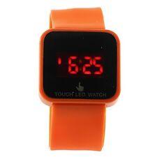 Orange Digital LED Touch Screen Wrist Watch Unisex Men Women Kids Boys Girls