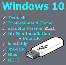 Windows 10 Home u. Professional Pro 32 / 64 bit USB Boot Stick * Version 21H1 *