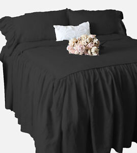 "Dust Ruffle Bed Skirt & Pillow shams Set 25"" drop Egyptian Cotton ALL SIZE COLOR"