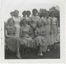 1957 B&W Photo Group Shot of Women in Dresses