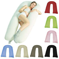 Extra Fill 9/12 Ft Comfort U Pillow With Case Body Support Maternity Pregnancy