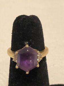 Vintage 14k Gold Amethyst CABOCHON Diamond Ring (Size 6.25) (5.2g)