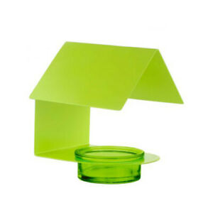 Contemporary Modern Protected Cottage House Lime Green Metal & Glass Bird Feeder